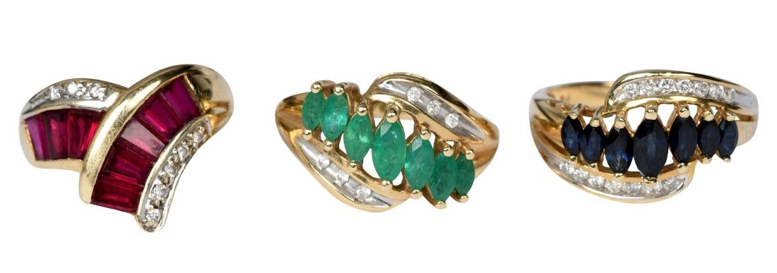 3 14k Gold Ladies Rings Ruby Sapphire Emerald