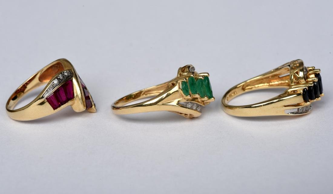 3 14k Gold Ladies Rings Ruby Sapphire Emerald - 2