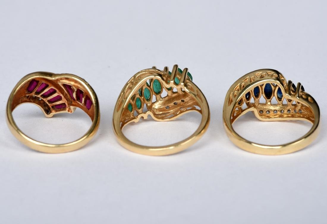 3 14k Gold Ladies Rings Ruby Sapphire Emerald - 3