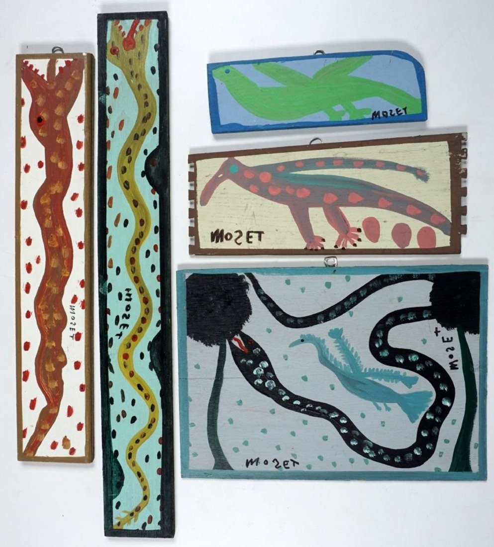 Mose Tolliver (Alabama 1918 - 2006) 5pc Painting Snakes