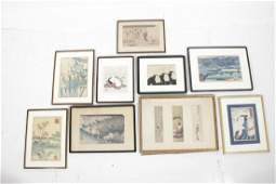 Ten Assorted Japanese Woodblock Prints