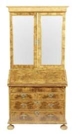 George I  Burl Walnut Secretary Bookcase