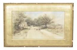 English, F. F. Rural Landscape Watercolor