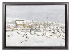 American School Winter Landscape