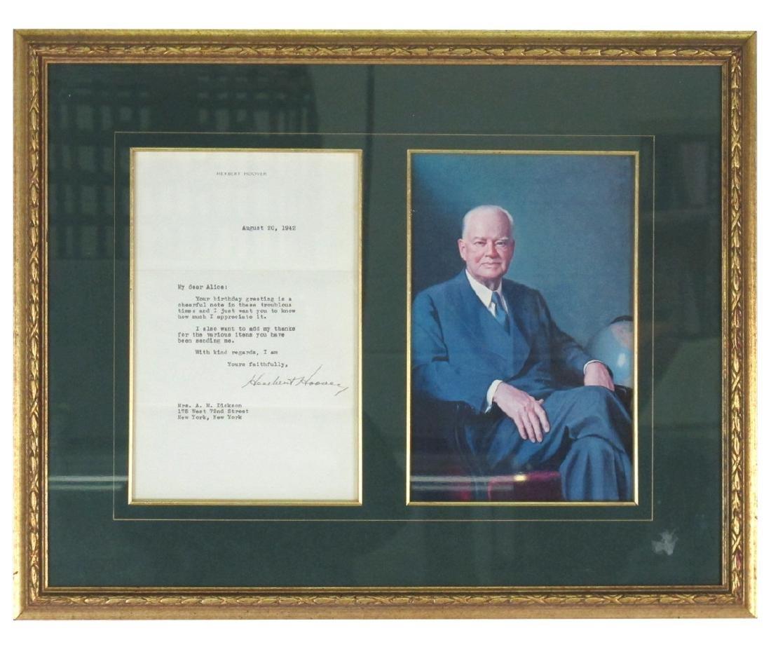 President Herbert Hoover Signed Letter
