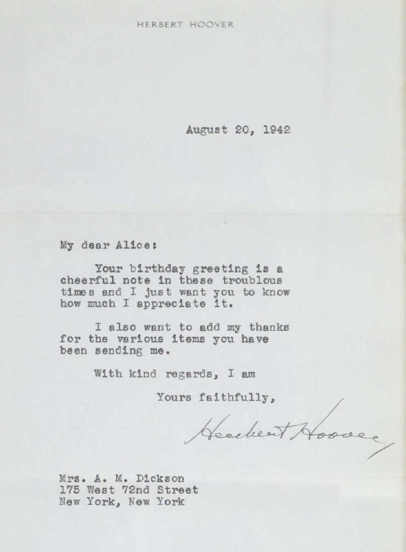 President Herbert Hoover Signed Letter - 2