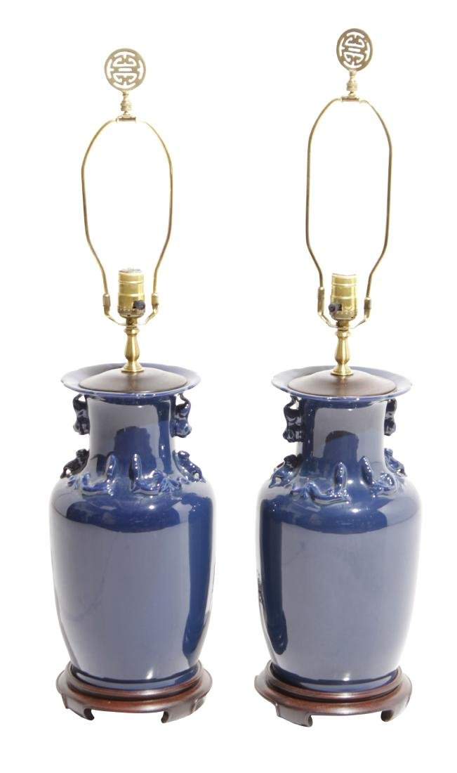 Pair Chinese Porcelain Urns Mounted as Lamps