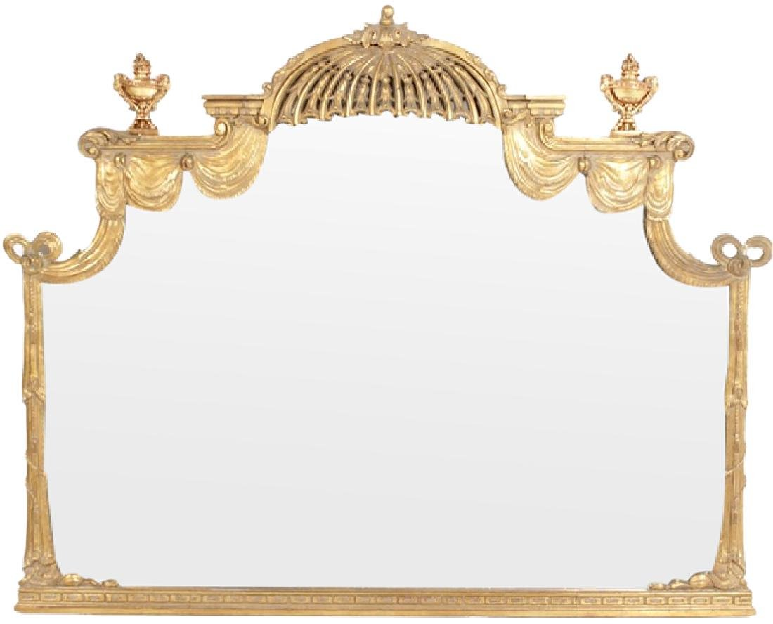 Large Neoclassical Style Over Mantel Mirror