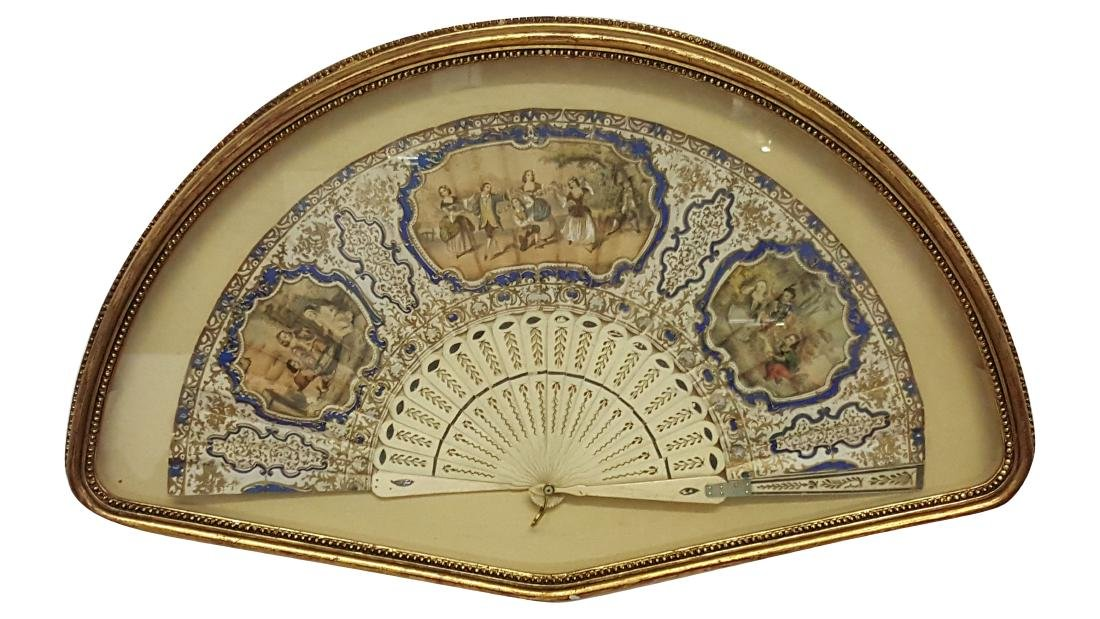 Vintage Hand-Painted Fan In Shadowbox Frame