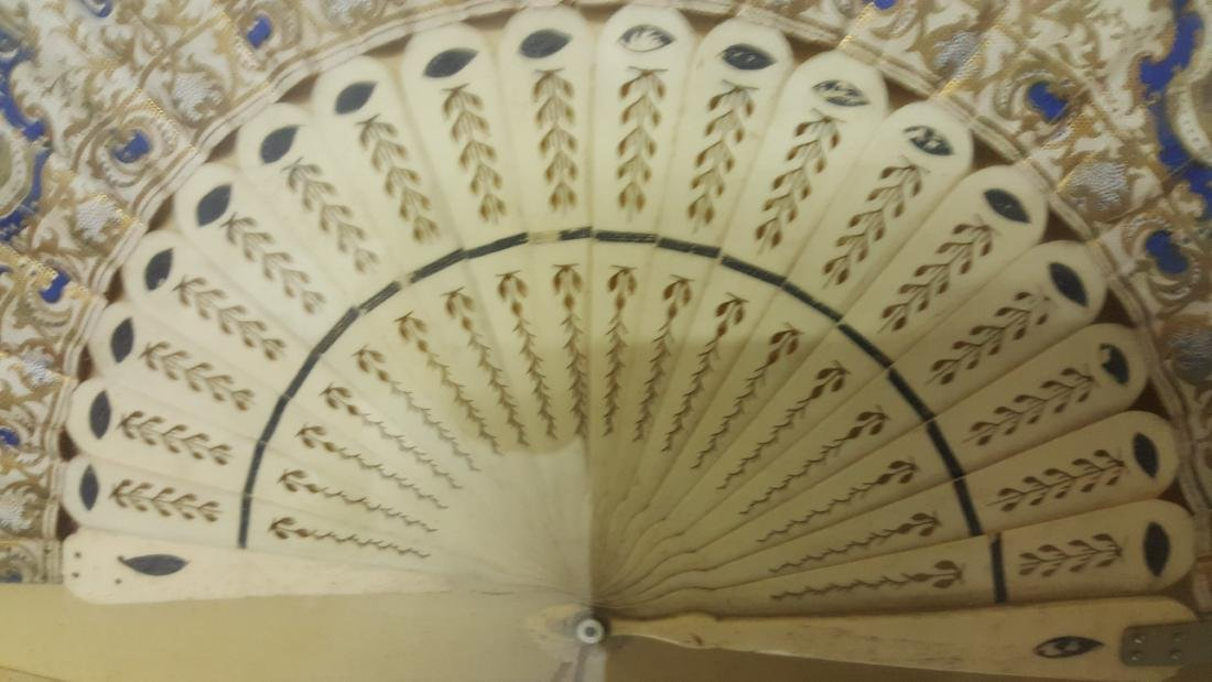Vintage Hand-Painted Fan In Shadowbox Frame - 4