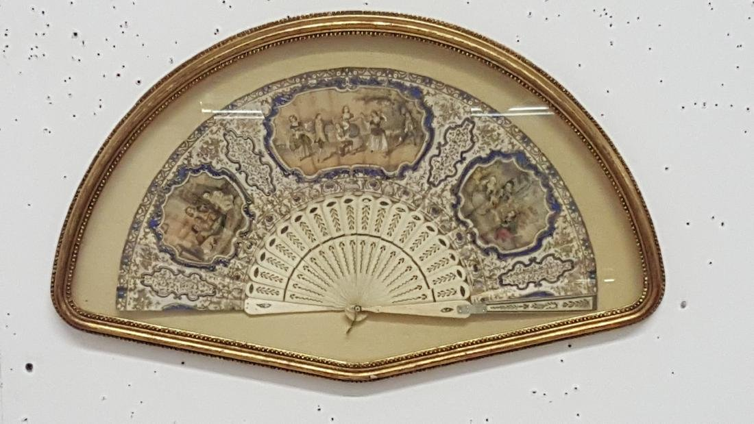 Vintage Hand-Painted Fan In Shadowbox Frame - 6