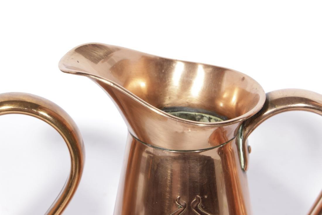 English Arts & Crafts Graduated Copper Jug Set - 3