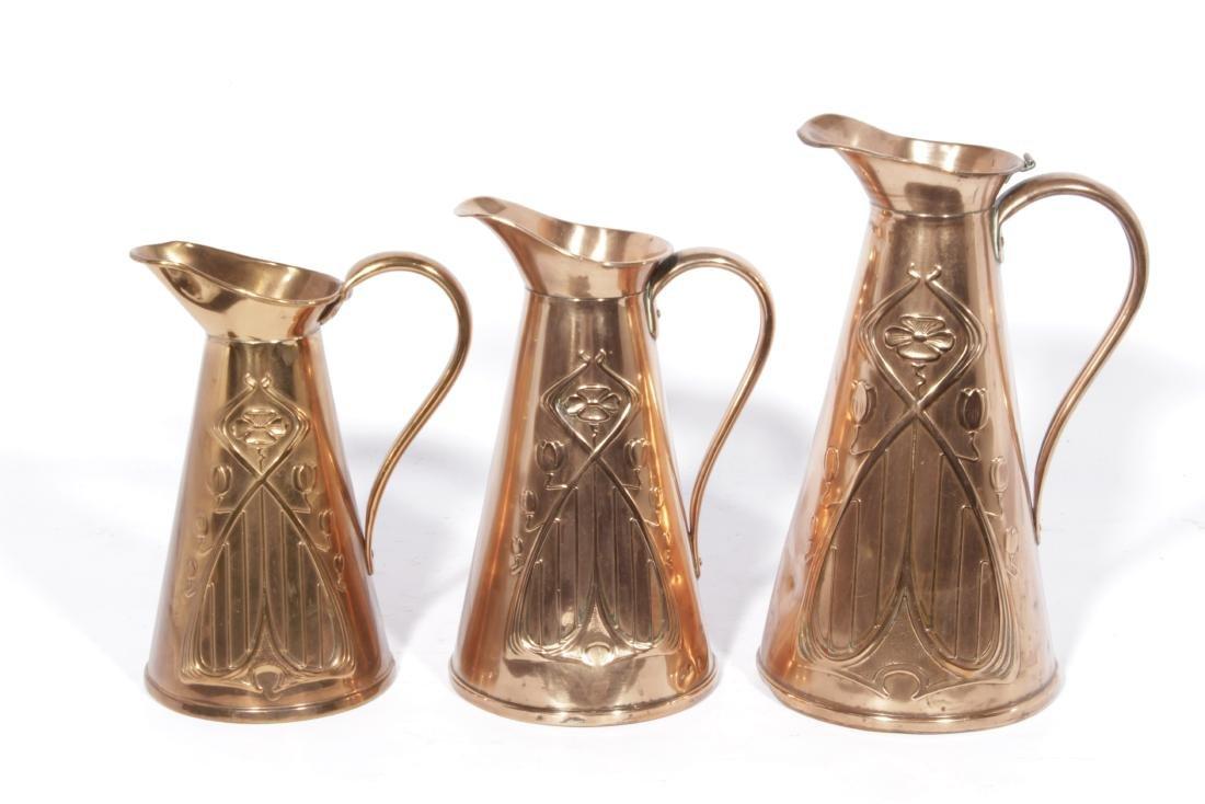 English Arts & Crafts Graduated Copper Jug Set - 4