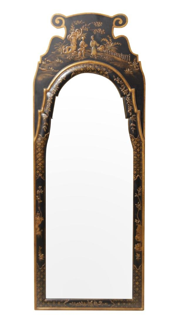 Queen Anne Style Black Lacquer Mirror