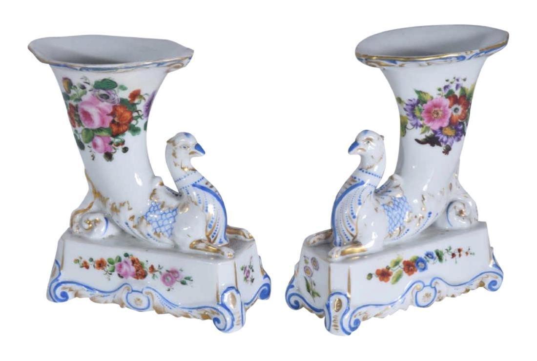 Pair 19th C Porcelain Griffon Cornucopia