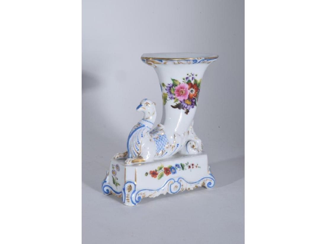 Pair 19th C Porcelain Griffon Cornucopia - 2