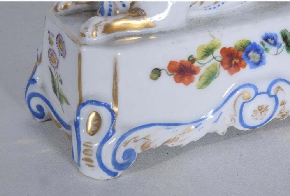 Pair 19th C Porcelain Griffon Cornucopia - 4