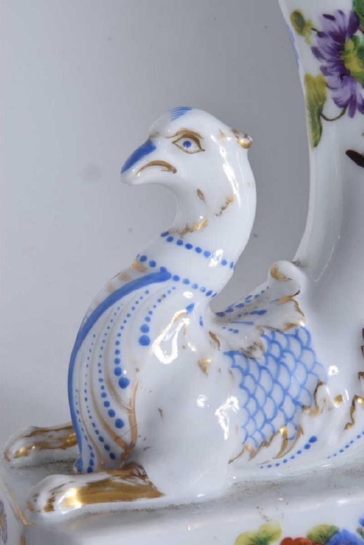 Pair 19th C Porcelain Griffon Cornucopia - 5