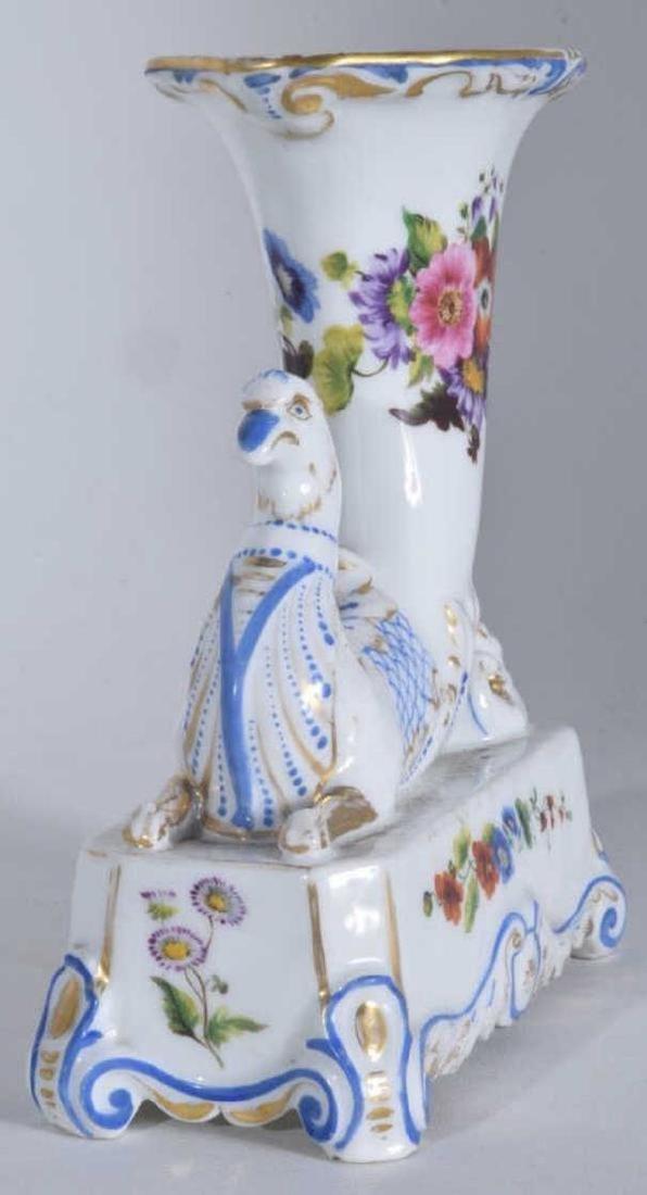 Pair 19th C Porcelain Griffon Cornucopia - 6