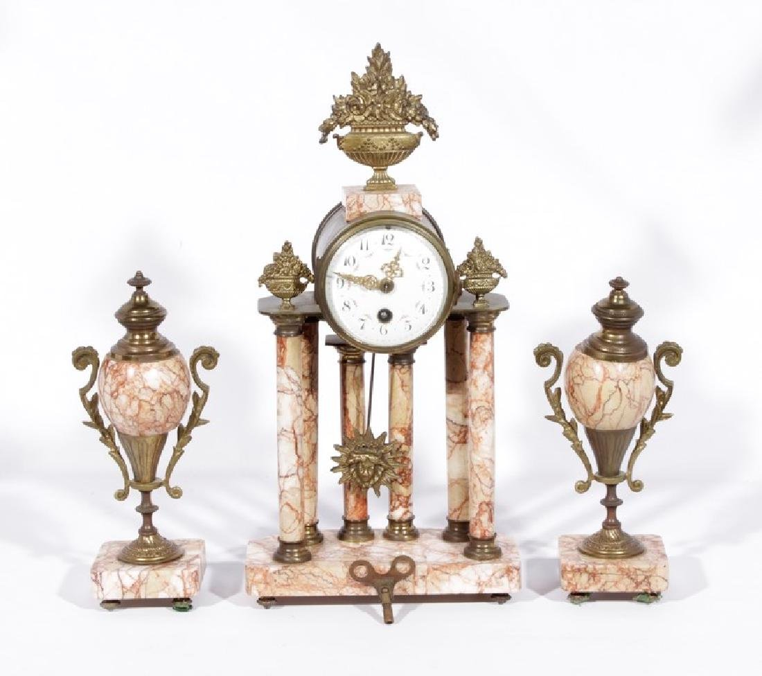French Clock Garniture Set In Pink Marble