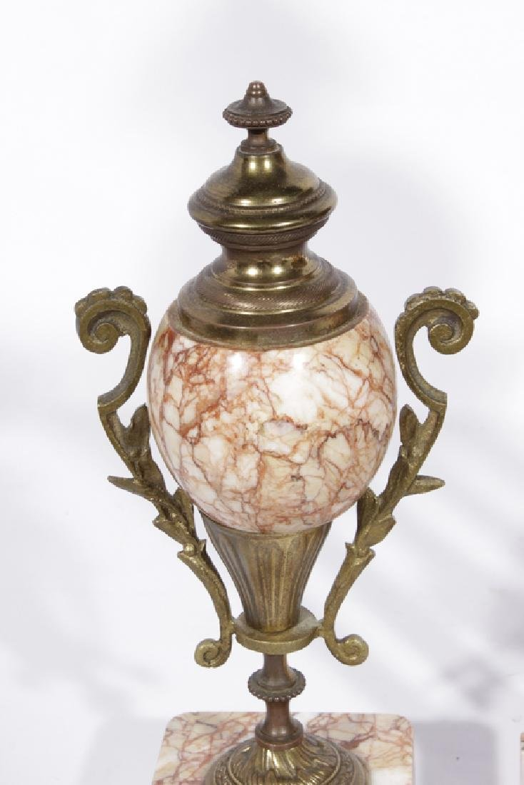 French Clock Garniture Set In Pink Marble - 7