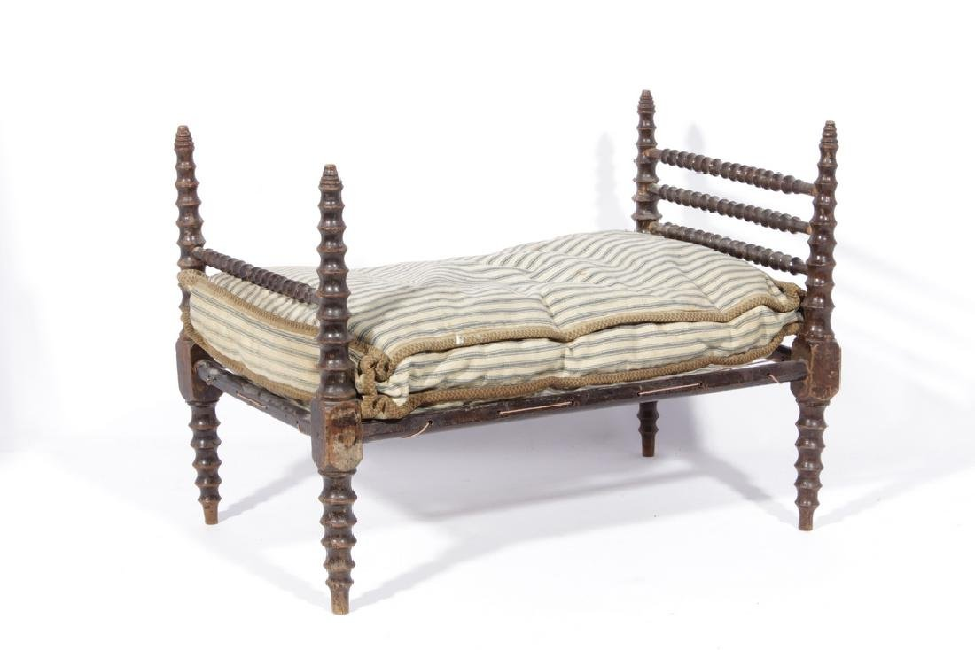19th C Doll Spindle Rope Bed