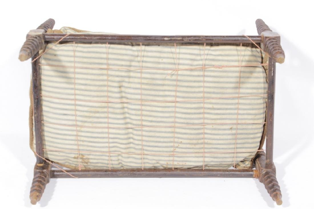 19th C Doll Spindle Rope Bed - 2
