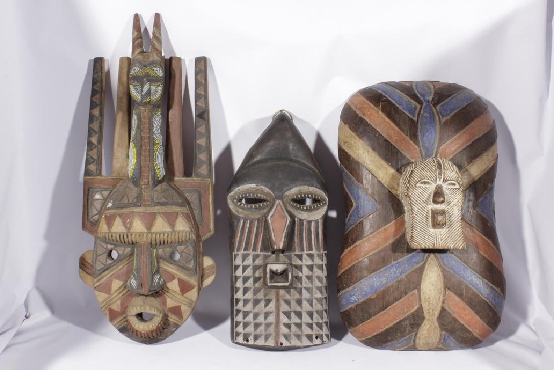 Miscellaneous Lot of Three African Masks