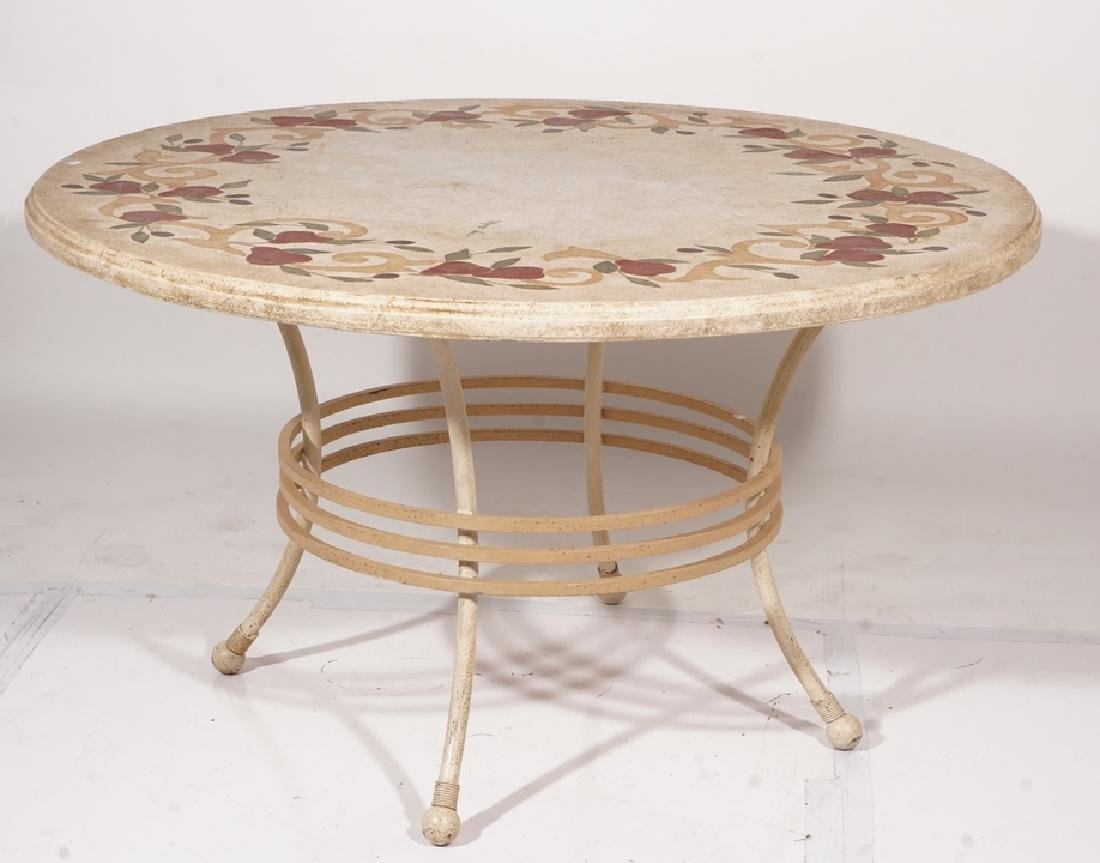 Round Inlaid Dining Table with Travertine Top