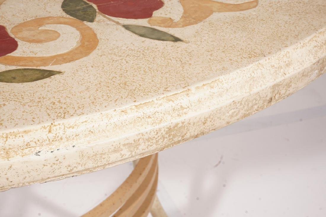 Round Inlaid Dining Table with Travertine Top - 5