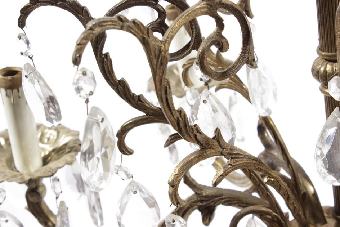Crystal and Brass Chandelier - 6