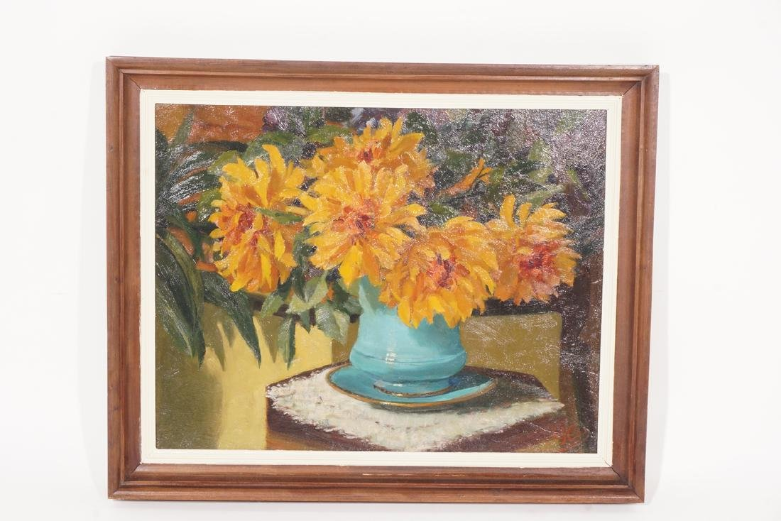 Impressionist Painting, Orange flowers in Vase