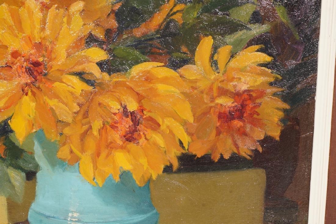 Impressionist Painting, Orange flowers in Vase - 2