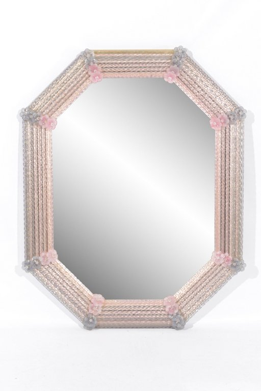 Venetian Mirror With Pink Glass