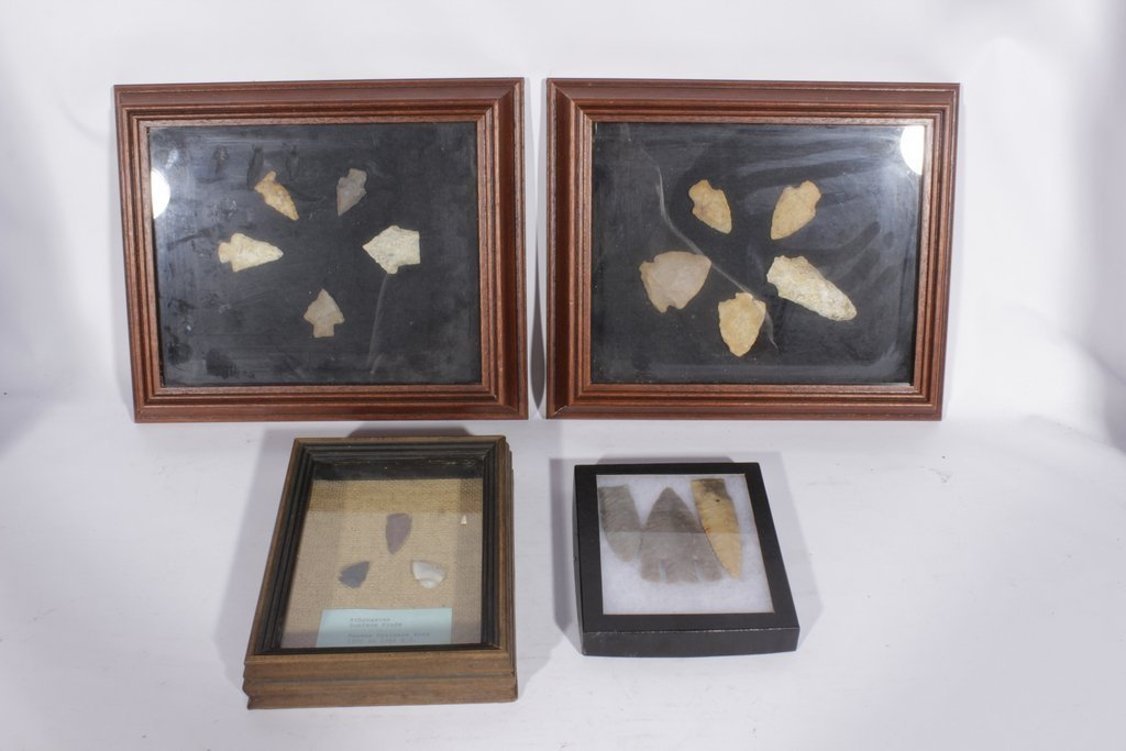 Miscellaneous Lot of 4 Framed Arrowheads