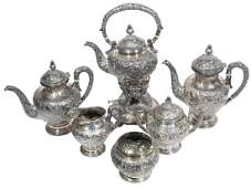 Six (6) Piece Chinese YU CHANG Sterling Silver Tea