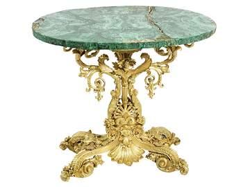 19th C Continental Gilt Bronze and Malachite Table