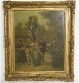 18th /19th c. Court Scene, Oil on Canvas