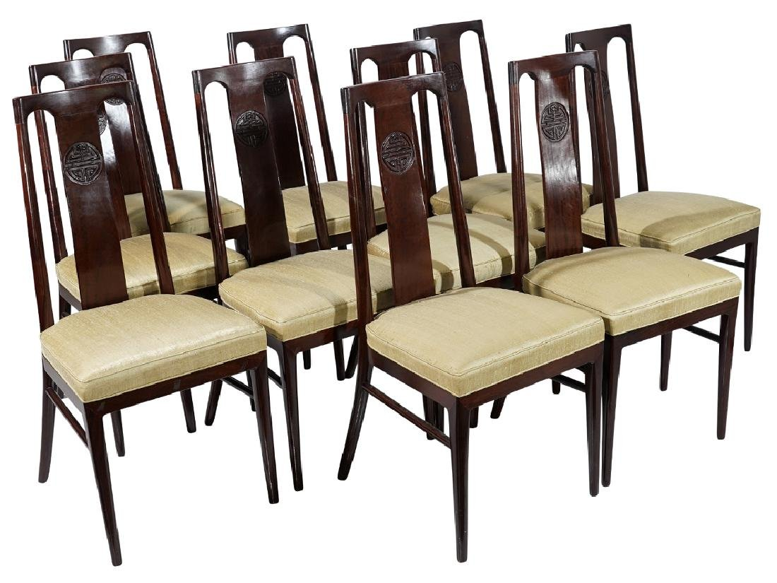 Set of Ten (10) Chinese Dining Chairs