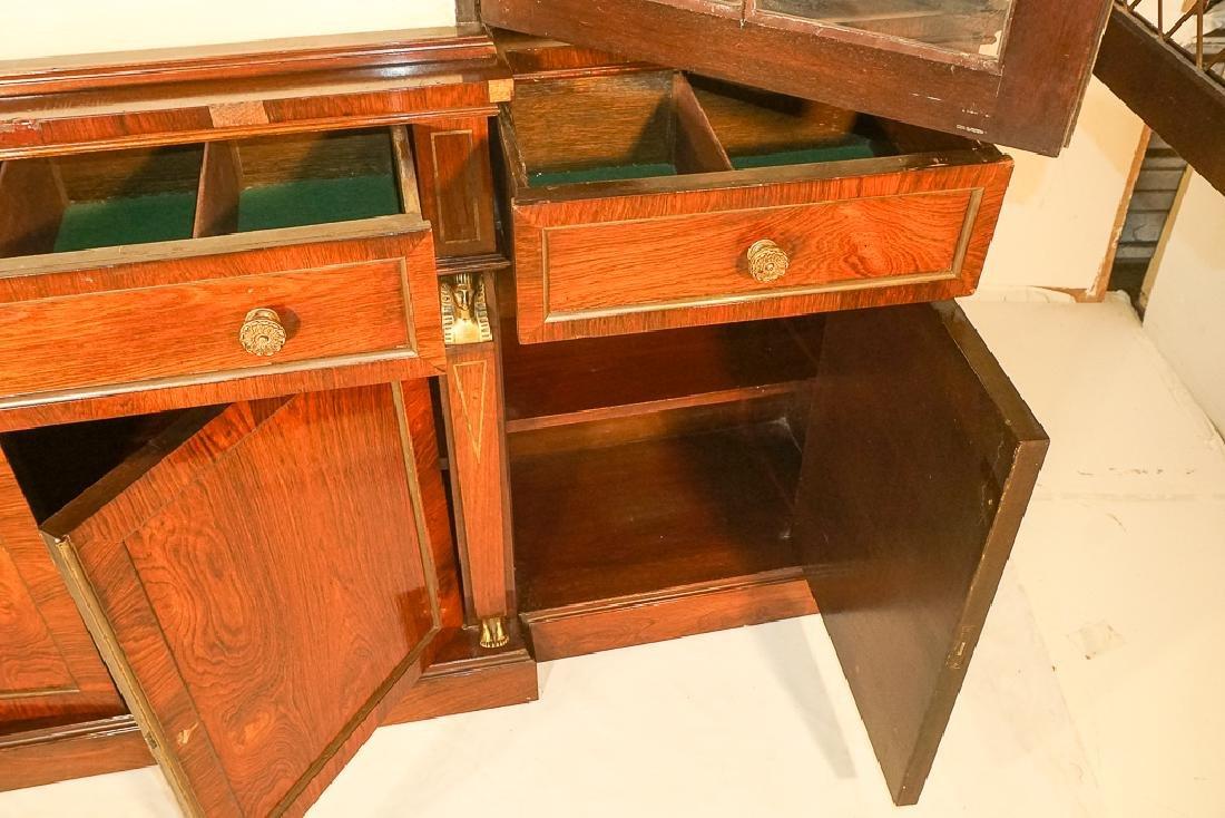 Regency Style Rosewood Breakfront Bookcase - 10