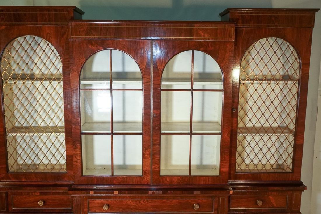 Regency Style Rosewood Breakfront Bookcase - 3