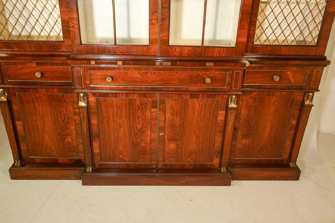 Regency Style Rosewood Breakfront Bookcase - 4
