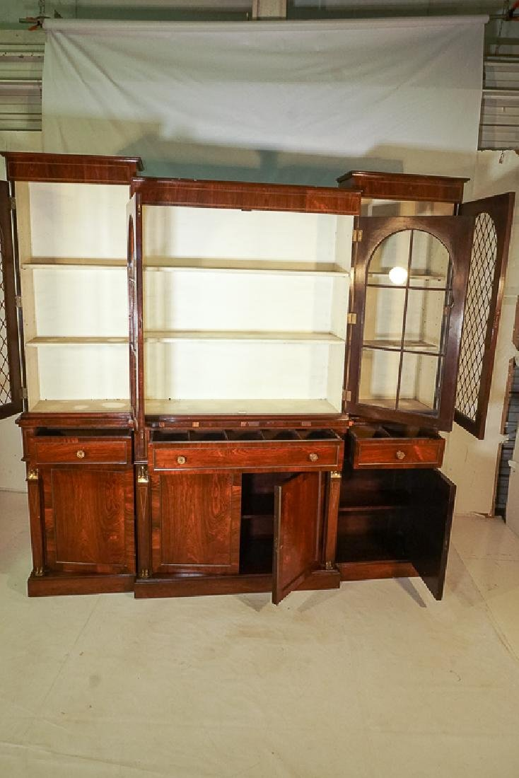 Regency Style Rosewood Breakfront Bookcase - 5