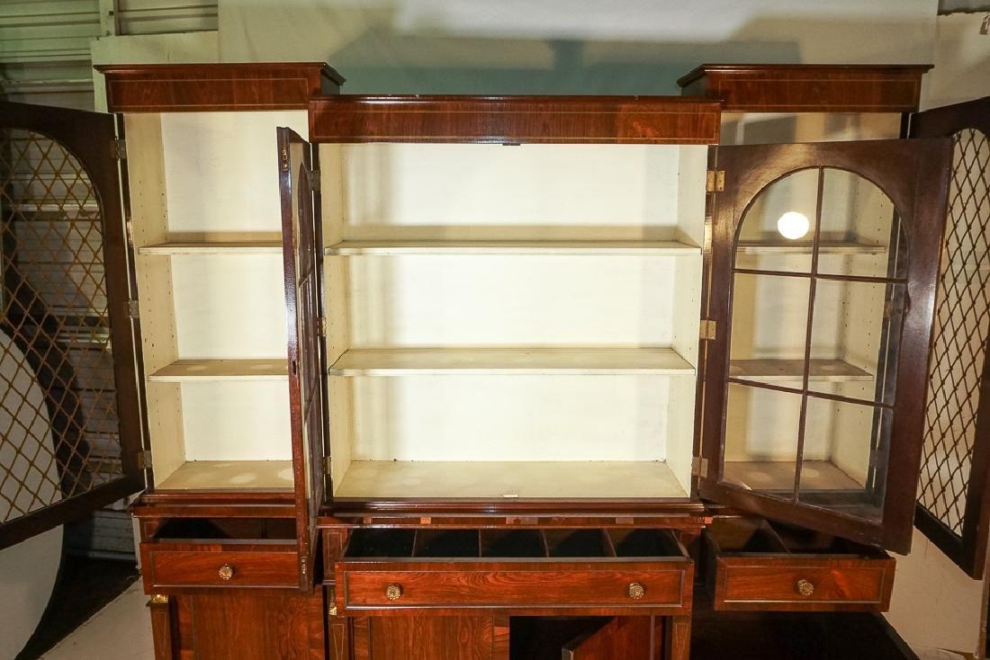 Regency Style Rosewood Breakfront Bookcase - 6