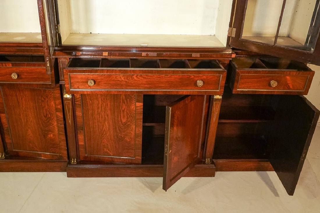 Regency Style Rosewood Breakfront Bookcase - 7