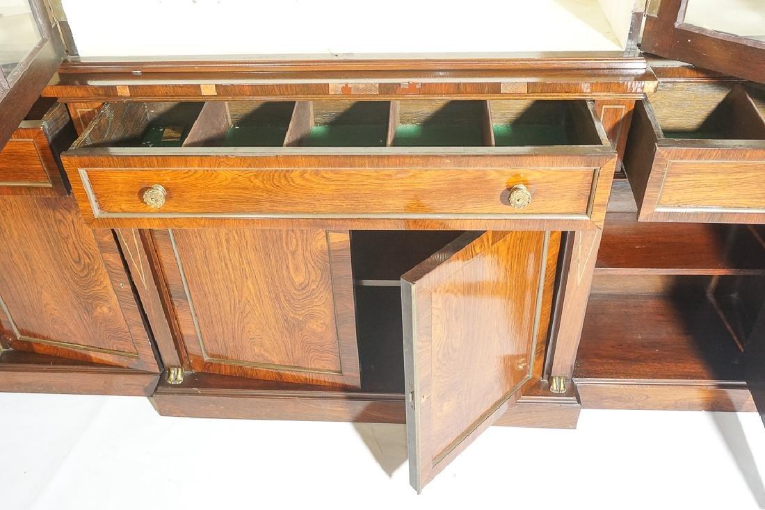 Regency Style Rosewood Breakfront Bookcase - 8