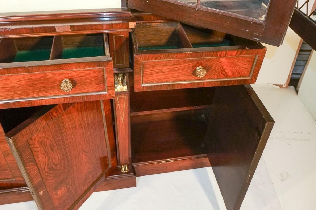 Regency Style Rosewood Breakfront Bookcase - 9