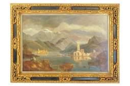 """Caligo, D. (fl 1862/80) """"Alpine Lakeside Picnic"""""""
