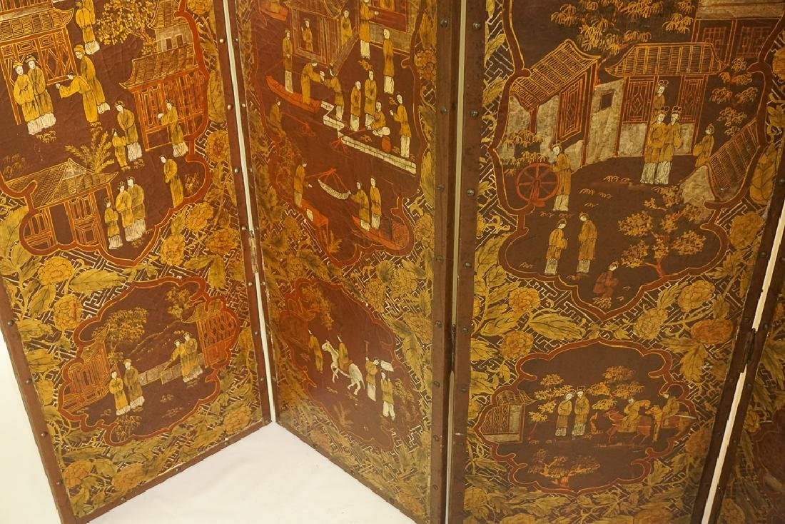 Chinese Decorative Four Panel Screen - 10