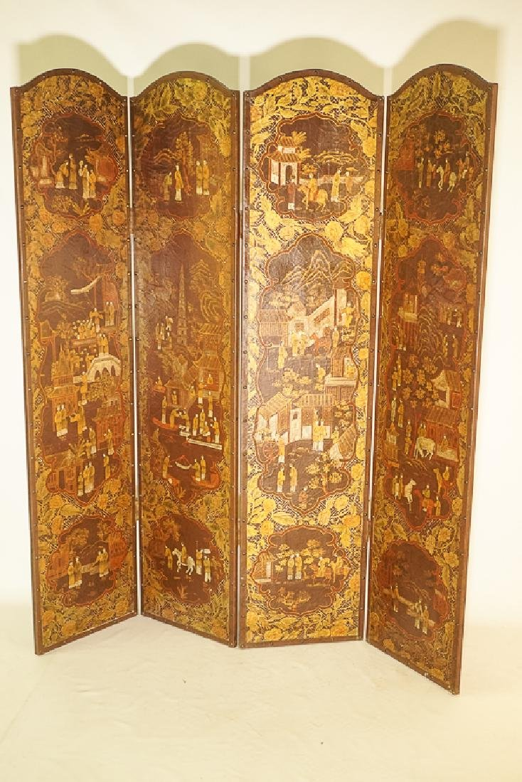 Chinese Decorative Four Panel Screen - 2